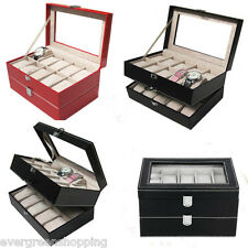 20 Grid 2 Layer Watch Jeweley Display Case Bracelet Leather Storage Box Tray