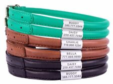 Rolled Round Leather Dog Collar Soft Padded 6 Sizes XXS XS S M L Brown Black