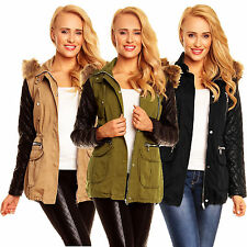 X576 LADIES JACKET PARKA LEATHER SLEEVE COAT BLOGGER OUTDOOR WINTER FUR HOODED