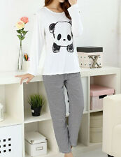 Women's Cute Panda Striped Simply Long Sleeve Autumn Pajama Set Nighty