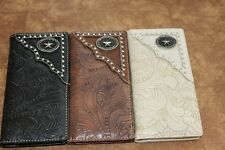 Men Women Western Rodeo Wallet Oval Star tooled stud Checkbook Pick Color