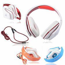3.5MM STEREO FOLDABLE HEADPHONE HEADSET W/ MIC FOR CELL PHONE LAPTOP PC TABLET