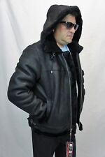 Black B3 100% Sheepskin Shearling Leather Bomber Flight Aviator Jacket Coat S-8X
