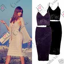 Womens Sexy Black Lace Bralet Bustier Crop Top Skirt Two Piece Party Dress Set