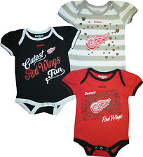 Detroit Red Wings GIRLS Team 3pc Creeper Set Infant Baby Bodysuit Red Stripes