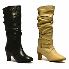 Ladies Womens Leather Knee High Slouch Mid Heel Biker Riding Boots Shoes Size