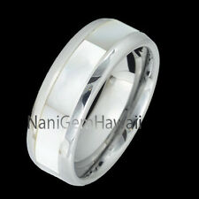 Tungsten 8mm White Mother Of Pearl Inlay Wedding Band Ring (Same Koa Wood Style)