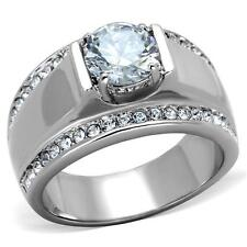 Men's 2 CT Round Cubic Zirconia Silver Stainless Steel Wedding Ring Size 8 - 13