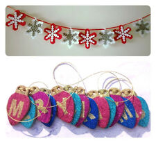 MERRY CHRISTMAS BANNER/GARLAND FELT FOIL GLITTER BEAD FESTIVE HANGING DECORATION