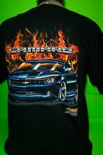 CHEVY MODERN CAMARO IN FLAMES TEE SHIRTS (NEW)