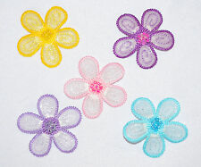 Set of Three Beaded  flowers head - card making iron/sew on embroidered motifs