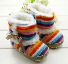 Winter Newborn Infant Boots Rainbow Stripe0-2Year Toddler Boys Girls Baby Shoes
