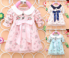 Lovely Korean Style Baby Girls Clothes Kids Bow Cotton Lace Dress Tops T-shirt