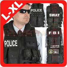 New Men POLICE SWAT FBI NYPD Vest Jacket Military Army Tactical Costume L XL XXL