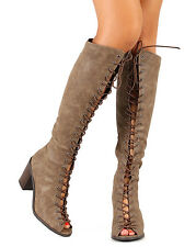 Breckelles Tina-14 New Women Peep Toe Lace Up  Chunky Heel Knee High Boot
