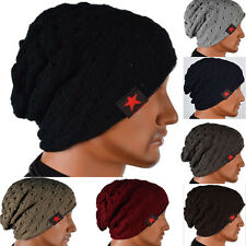 Hot Mens Womens Skull Chunky Knitted Winter Star Hat Reversible Baggy Beanie Cap
