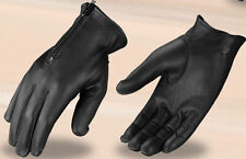 Men's Premium Black Leather Motorcycle Gloves