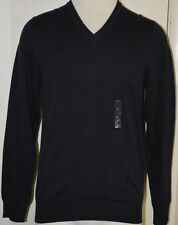 Men's Van Heusen Dark Indigo Blue Long Sleeve V-Neck Pullover Sweater Size Small