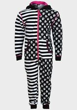 GIRLS  HOODED CAT ONESIE ALL IN ONE PYJAMAS BLACK WHITE SIZE 12 MONTHS- 6 YEARS