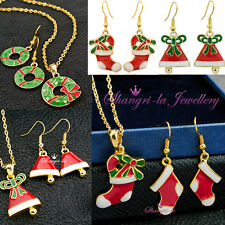 Yellow GOLD GP Girls Xmas RING RED Jingle BELLS SNOWBOOTS Necklace EARRINGS SET
