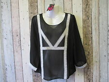 Ladies Sheer Top, Black with Cream Lace, Sizes 10 and 14 (1823604-20 9) *