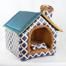 New All Blue Brick Wall Chimeny Pet Dog Cat House Beds Kennel +Toy size M,L,XL