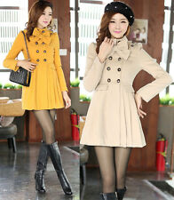 Fashion Women Wool Coat Trench Double-Breasted Coat Long Jacket Overcoat 4 Color