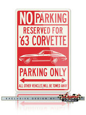 Chevrolet Corvette 1963 Split Window Reserved Parking Sign 12x18 / 8x12 Aluminum