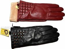 New Women's dressy Leather Gloves, Warm Winter Gloves Black Red winter Gloves BN