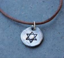 Ancient Star of David Necklace - antiqued handmade fine silver charm on leather