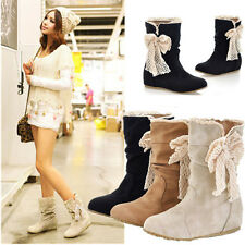 2015 Women Winter Mid Calf Snow Boots Warm Lace Bowknot Flats Wedge Shoes Bow
