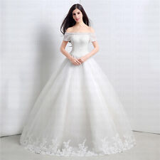 2015 Real Dress Ball Gown Wedding Dress Off-shoulder Sweep Train Sexy  In Stock