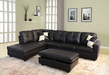 Black Faux Leather Sectional Couch Sofa Storage Ottoman Set Modern Furniture