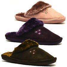 Ladies Womens New Coolers Warm Winter Flat Slip On Fur Mules Slippers Shoes Size