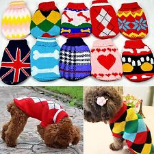 Fancy New Lovely Puppy Pet Cat Dog Sweater Knitted Coat Apparel Clothes 6 Sizes