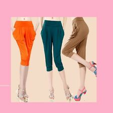 Multi 1 Size Machine Washable Silky Cropped Trousers Girls Women Gym Sports Gift