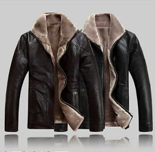 Winter Warm Mens Fashion Motorcycle Leather Jacket Casual Heep Leather Fur Coat