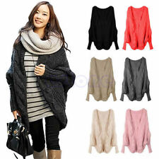Womens Oversized Knitted Cardigan Batwing Outwear Casual Loose Sweater Coat Tops