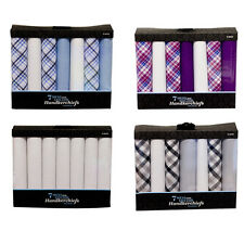 NEW in Box of 7-100% Pure Cotton Handkerchiefs Hankies Assorted Colours