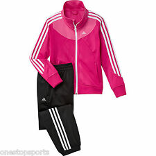 adidas girls 3 stripe tracksuit. Jogging suit. Warm up suit. Age 5-6 years