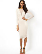 ASOS NEW Mesh Insert Bodycon Midi Dress with Metallic Sparkles RRP £40