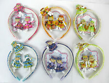 WHOLESALE LOT OF 6,12 SET-PRETTY DOLL DESIGNED HEADBAND & 2 METAL CLIPS--HA2256A