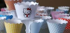 "12 GIRLS Party ""HELLO KITTY "" Cupcake Wrappers-WORLDWIDE FREE SHIPPING"