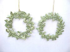 GISELA GRAHAM CHRISTMAS PALE GREEN GLITTER HOLLY /MISTLETOE WREATH DECORATION
