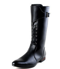 new mens leather black zipper buckle knee high military heel boots knight shoes