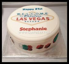 Las Vegas Edible Icing, Sugar Toppers &/Or Ribbon for Birthday Cake Cupcakes