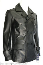 German Pea Coat Men's Classic Reefer Style Military Real Hide Leather Jacket