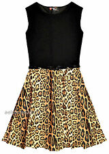 New Girls Leopard Print Skater Dress with Belt Age Size 5 7 9 10 11 12 13 years