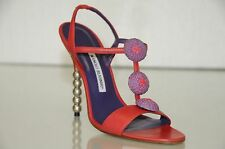 New Manolo Blahnik Tarte Red Purple Jeweled Strappy Sandals Shoes Heels 37 38.5