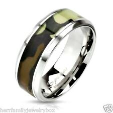 Stainless Steel CAMO Hunter Army Wedding Band Man Ring Mens size 8 9 10 11 12 13